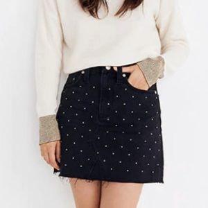 Madewell Metallic Dots Denim Skirt